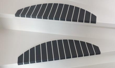Trapmatten en trapmaantjes op trap gedraaid