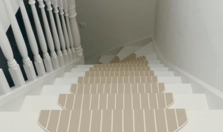 Trapmatten en trapmaantjes beige trap boven
