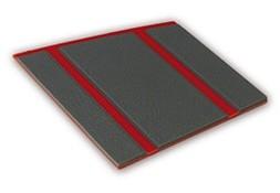 Kleurstaal van een Micostep® kunststof trapmat – rood - antraciet