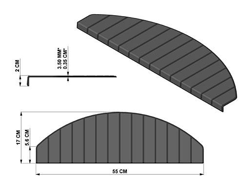 De afmetingen van Micostep® kunststof trapmaantjes - trapmatten